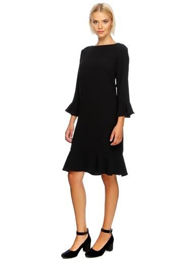 House Of Camellia Etek Ve Kolları Volanlı Elbise Siyah